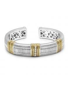 Judith Ripka Sterling Silver & 18KYG Large Cuff Bracelet