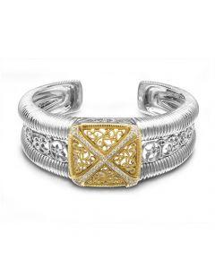 """Dev Valencia Sterling Silver & 18KYG Filigree """"X"""" Diamond Cuff Bracelet"""