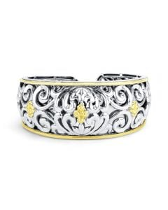 Charles Krypell Sterling Silver & 18KYG Ivy Cuff Bracelet