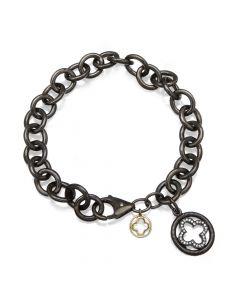 Dev Valencia Sterling Silver, Black Rhodium & 14KYG Bracelet with Clover Charm