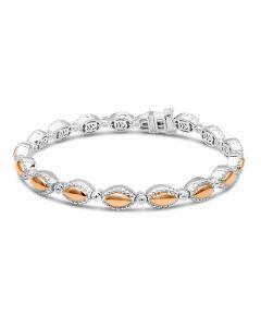 Charles Krypell Sterling Silver & 18KRG Firefly Link Bracelet