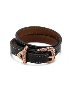 Charles Krypell 18K Rose Gold Ivy Black Leather Belt Bracelet