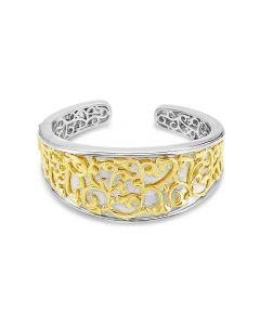 Charles Krypell Sterling Silver & 18K Yellow Gold Ivy Lace 30mm Cuff Bracelet