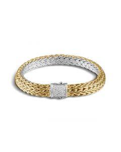 John Hardy Ster/18KYG Diamond Clasp Reversible Bracelet