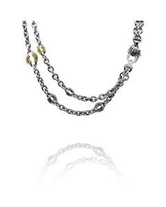 Scott Kay Sterling Silver 18KYG Double Basket-Weave Link Necklace