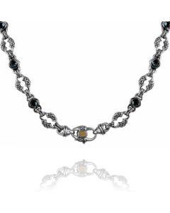 Scott Kay Sterling Silver & 18KYG Medium Link London Blue Topaz Necklace