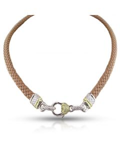 Judith Ripka Sterling Silver & 18KYG Diamond Heart Clasp on a Light Brown Leather Necklace