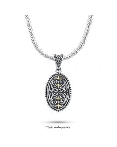 Arista Sterling Silver Oval Engraved Pendant with Gold Accents