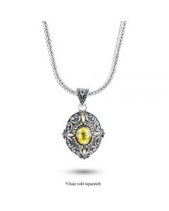 Arista Sterling/18K Yellow Gold Oval Yellow Topaz Engraved Enhancer