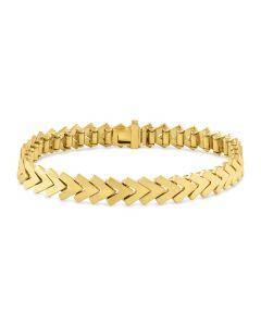 Kaspar & Esh 14K Yellow Gold Plain Chevron Link Bracelet