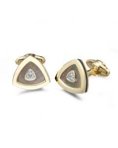 14KYG Men's Gray Mother of Pearl & Diamond Cufflinks