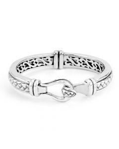Scott Kay Sterling Silver Equestrian Collection Mid-Buckle Basket Weave Bracelet