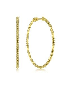 Gabriel & Co 14K Yellow Gold 50mm Bujukan Hoop Earrings