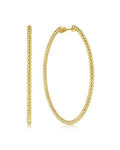 Gabriel & Co 14K Yellow Gold 60mm Bujukan Hoop Earrings