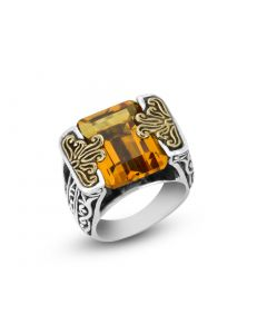 Arista Sterling Silver & 18K Yellow Gold Large Citrine Engraved Ring