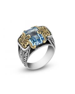 Arista Sterling Silver & 18K Yellow Gold Large Emerald Cut Blue Topaz Engraved Ring
