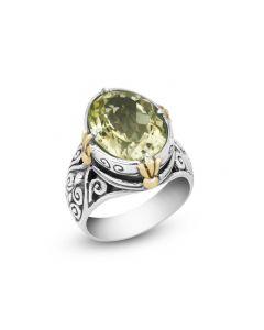 Arista Sterling Silver & 18K Yellow Gold Large Oval Lemon Quartz Engraved Ring