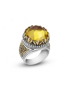 Arista Sterling Silver & 18K Yellow Gold Lemon Citrine Engraved Ring