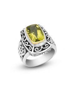 Arista Sterling Silver & 18K Yellow Gold Rectangle Lemon Citrine Engraved Ring