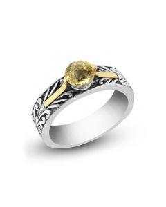 Arista Sterling Silver Engraved Ring with Lemon Quartz Gemstone & 18KYG Prongs