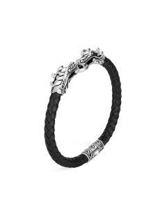 John Hardy Legends Naga Black Leather Bracelet