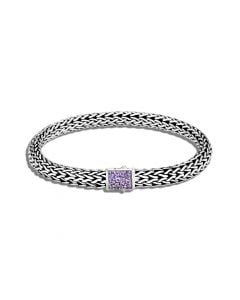 John Hardy Sterling Silver Reversible Classic Chain and Amethyst Bracelet