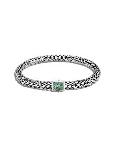 John Hardy Sterling Reversible Classic Chain and Emerald Bracelet
