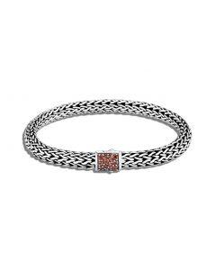 John Hardy Sterling Silver Reversible Classic Chain and Garnet Bracelet