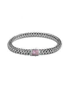 John Hardy Sterling Reversible Classic Chain and Pink Tourmaline Bracelet