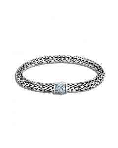 John Hardy Sterling Reversible Classic Chain and Swiss Blue Topaz Bracelet