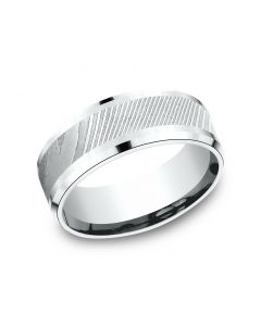 8mm Damascus Steele and White Gold Wedding Band