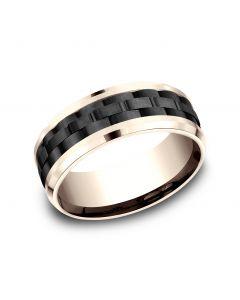 8mm Black Titanium and Rose Gold Comfort-Fit Design Wedding Band