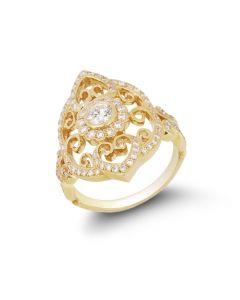 Chad Allison 18KYG Diamond Cutwork Dinner Ring