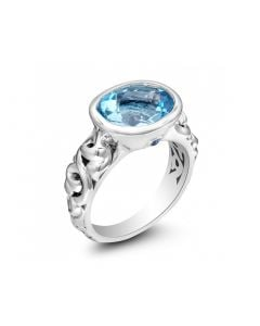Charles Krypell Sterling Silver Oval Swiss Blue Topaz Ivy Ring