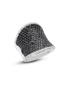 Charles Krypell Sterling Silver Wide Concave Black & White Sapphire Ring
