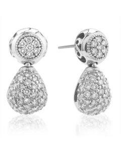 Charriol 18 Karat White Gold Diamond Teardrop Pave Earrings
