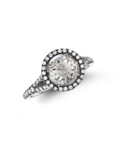 Christophe Danhier 18KWG White Quartz Ring with Diamond Accents