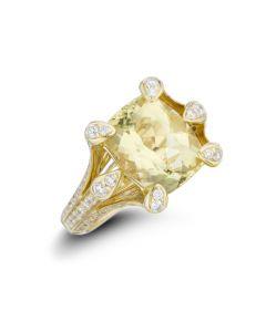 Christophe Danhier 18KYG Yellow Beryl & Diamond Cocktail Ring