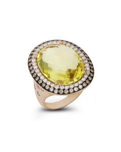 Dabakarov 14KRG Oval Lemon Quartz Ring
