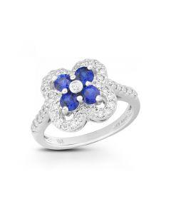 De Hago 18 Karat White Gold Sapphire and Diamond Fashion Ring