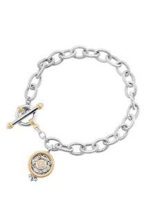 Dev Valencia Sterling Silver & 18K Yellow Gold Pave Set Round Charm Bracelet