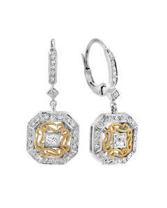 Dev Valencia 18 Karat Two-Tone Gold French Back Square Diamond Dangle Earrings