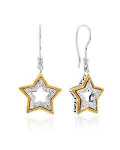 Dev Valencia Sterling Silver & 18KYG Pave Set Star Earrings