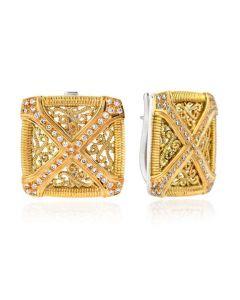 """Dev Valencia Sterling Silver & 18KYG Square Filigree """"X"""" Earrings"""