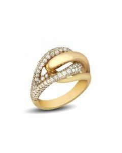 Di Modolo 18 Karat Yellow Gold Triadra Oblong Diamond Ring