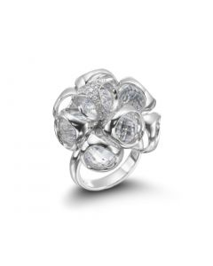 Di Modolo Sterling Silver Icon Collection Rock Crystal Diamond Cluster Ring