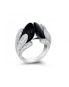 Di Modolo Triadra 18K White Gold Black Onyx Ring