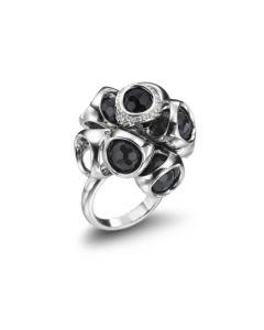 Di Modolo Triadra Argento Sterling Silver Icon Collection Black Onyx Diamond Cluster Ring