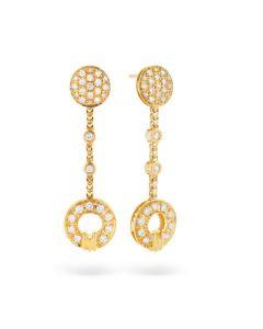 Di Modolo 18 Karat Yellow Gold Tempia Paved Donut Link Dangle Earrings