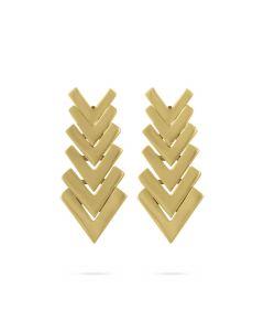 Kaspar & Esh 14K Yellow Gold 6 Piece Graduated Chevron Drop Earrings
